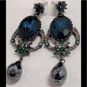 Oscar De La Renta Blue Swarovski Evening Earrings